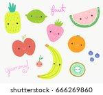 cute fruits clip art... | Shutterstock .eps vector #666269860