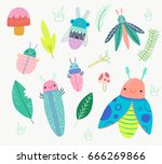 cute bug beetle insect clip art ... | Shutterstock .eps vector #666269866