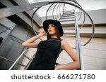 gorgeous brunette posing in...   Shutterstock . vector #666271780