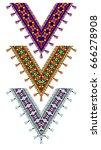 ethnic ornament with fringe | Shutterstock .eps vector #666278908