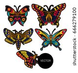 butterfly vector embroidery for ... | Shutterstock .eps vector #666279100