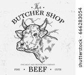 cow head  fresh beef organic... | Shutterstock .eps vector #666283054