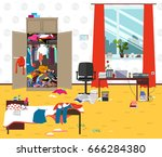 messy room where young lady... | Shutterstock .eps vector #666284380