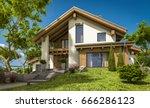 3d rendering of modern cozy... | Shutterstock . vector #666286123