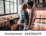 attractive passionate couple is ... | Shutterstock . vector #666286654