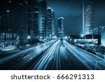 light trails on the modern... | Shutterstock . vector #666291313