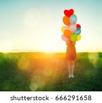 beauty teenage girl on summer... | Shutterstock . vector #666291658
