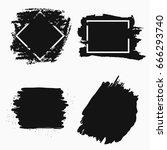 ink brush banner. black paint... | Shutterstock .eps vector #666293740