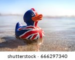 british flag rubber duck in the ... | Shutterstock . vector #666297340