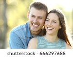 happy couple posing with... | Shutterstock . vector #666297688