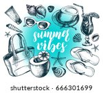 ink hand drawn set of beach... | Shutterstock .eps vector #666301699