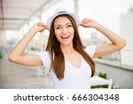 summer mood  close up portrait... | Shutterstock . vector #666304348