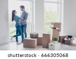 happy young couple moved to new ... | Shutterstock . vector #666305068