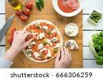 traditional italian pizza dough ... | Shutterstock . vector #666306259