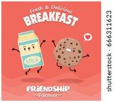 vintage food poster design with ... | Shutterstock .eps vector #666311623
