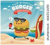 vintage burger poster beach... | Shutterstock .eps vector #666311650