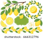 vector set with lemons includes ... | Shutterstock .eps vector #666312796