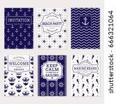 set of nautical and marine... | Shutterstock .eps vector #666321064