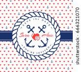 sea wedding invitation card. ... | Shutterstock .eps vector #666321070