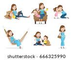mother and son or daughter have ... | Shutterstock .eps vector #666325990