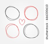 set of heart and round frames... | Shutterstock .eps vector #666330610