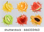 orange  kiwi fruit  banana ... | Shutterstock .eps vector #666333463