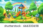 children playground. nature... | Shutterstock .eps vector #666333658
