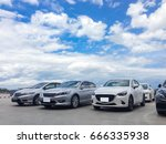 car parked in parking lot at... | Shutterstock . vector #666335938