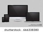 realistic computer  laptop ... | Shutterstock .eps vector #666338380