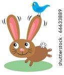 happy vector cartoon rabbit... | Shutterstock .eps vector #66633889