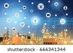 light oil refinery at twilight... | Shutterstock . vector #666341344