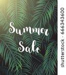 summer sale card. seasonal... | Shutterstock .eps vector #666343600