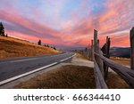 road in carpathian mountains   | Shutterstock . vector #666344410