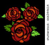 three red roses embroidery on... | Shutterstock .eps vector #666344614