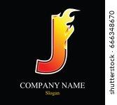 j letter fire logo design... | Shutterstock .eps vector #666348670