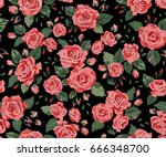 seamless pattern with red roses ...   Shutterstock .eps vector #666348700