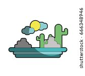 cactus with sun natural aventure | Shutterstock .eps vector #666348946