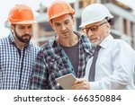 male work building construction ... | Shutterstock . vector #666350884