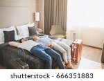 Stock photo young couple travel together hotel room leisure 666351883