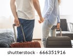 young couple travel together... | Shutterstock . vector #666351916