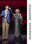 Small photo of New York, NY USA - June 25, 2017: Michael Xavier and Glenn Close on stage of Palace theater during Sunset Boulevard last performance on Broadway curtain call