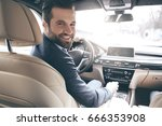 young business man test drive... | Shutterstock . vector #666353908