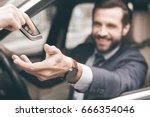 young business man test drive...   Shutterstock . vector #666354046