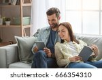 young family couple together at ... | Shutterstock . vector #666354310