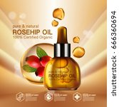 rose hip oil natural cosmetic... | Shutterstock .eps vector #666360694