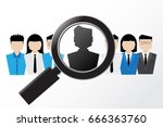 magnifying glass on people icon ... | Shutterstock .eps vector #666363760