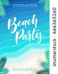 vertical template with tropical ... | Shutterstock .eps vector #666365260