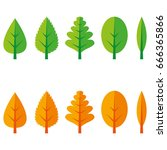 different types of leaves in... | Shutterstock .eps vector #666365866