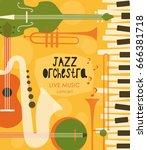 vector poster for the jazz... | Shutterstock .eps vector #666381718