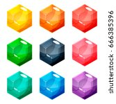 set of nine different colored... | Shutterstock .eps vector #666385396